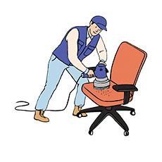 의자를 청소하는 청소부